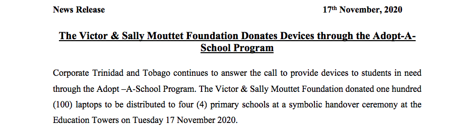 News Release -Victor & Sally Mouttet Foundation Final