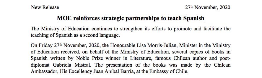 News Release – MOE reinforces strategic partnership to teach Spanish
