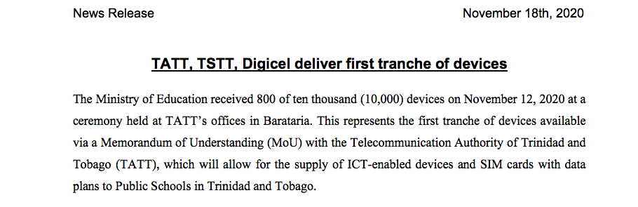 News Release – TATT, TSTT, Digicel deliver first tranche of devices
