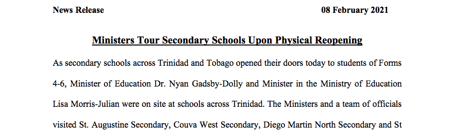 Media Release- Minister Tour Schools for Physical Reopening