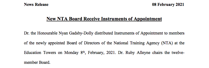 Media Release- New NTA Board Receive Instruments of Appointment