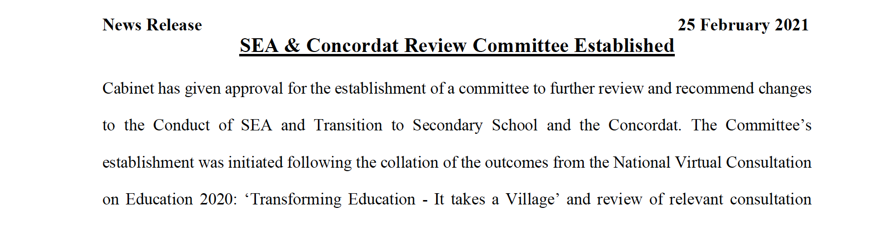 News Release – SEA & Concordat Review Committee Established