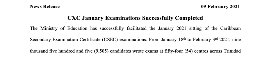 News Release – CXC January Examinations Successfully Completed