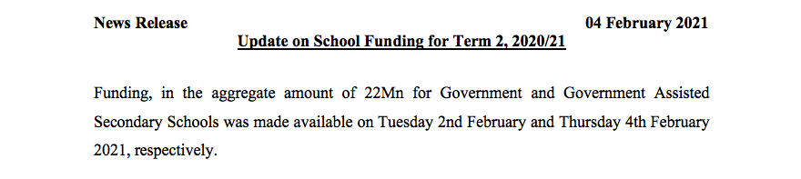 Media Release- Schools Equipped for Reopening