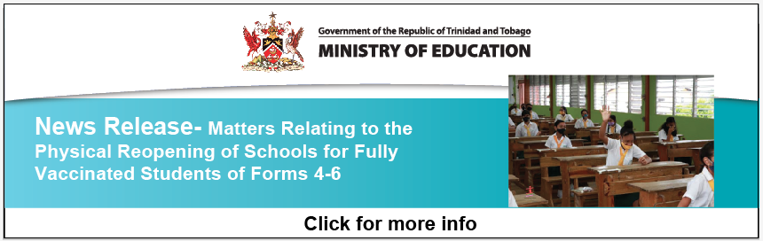 News Release – Matters Relating to the Physical Reopening of Schools for Fully Vaccinated Students of Forms 4-6 on October 4th, 2021